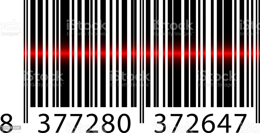 barcode with laser beam vector art illustration