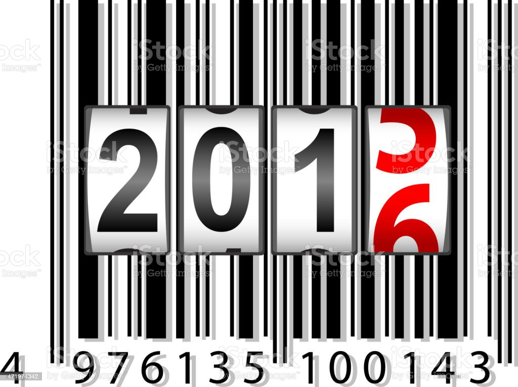 Barcode with year counter moving to 2016 vector art illustration