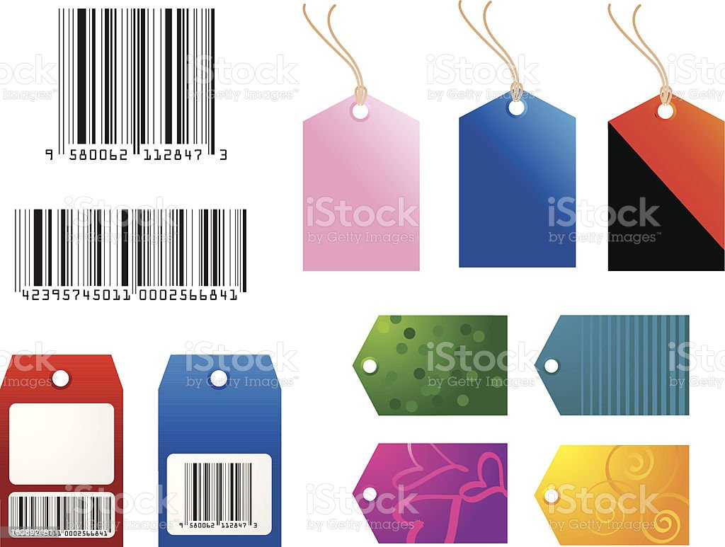 Barcodes, Gift and Shopping Tags royalty-free stock vector art