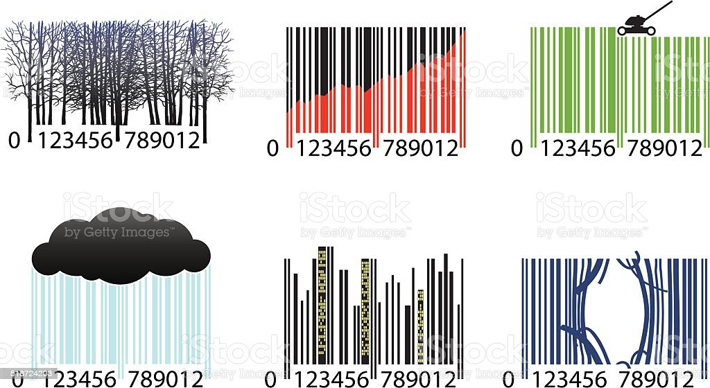 Barcodes vector art illustration