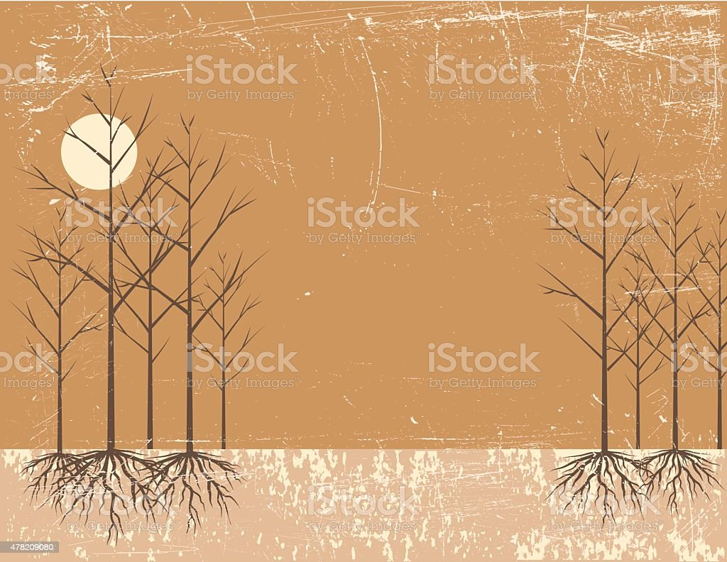 Bare Tree With Roots And The Sun vector art illustration