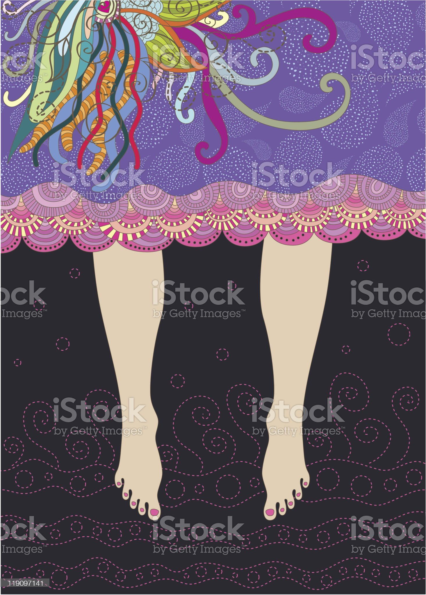 Barefoot girl in nice decorated skirt royalty-free stock vector art