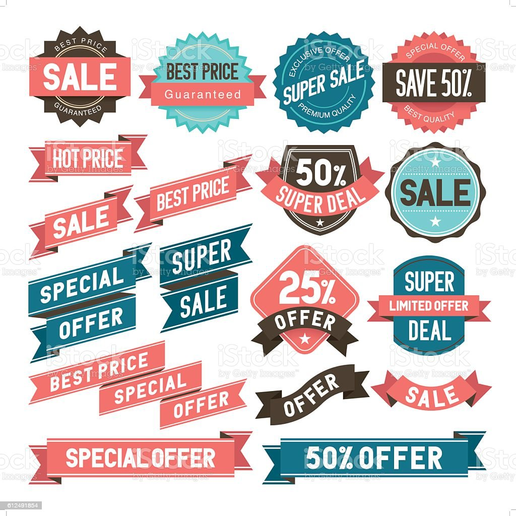 bargain & sale stickers vector art illustration
