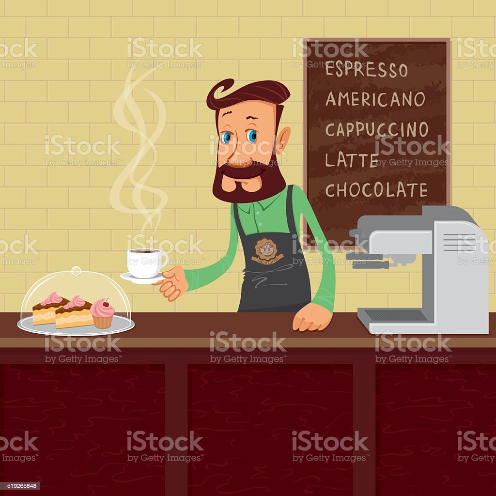 Barista at work vector art illustration
