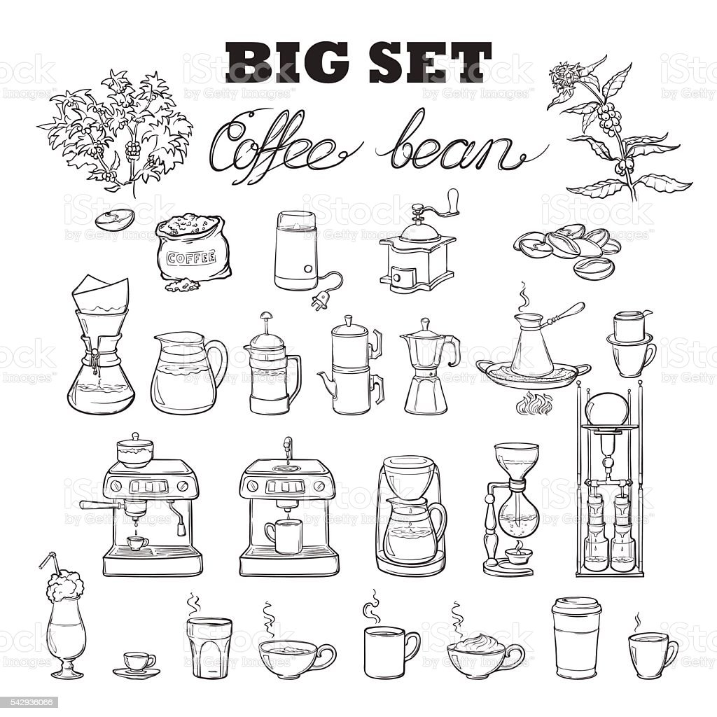 Barista coffee tools set. Sketch style. Isolated on white background. vector art illustration