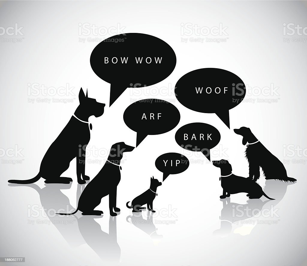 Barking dogs silhouette vector art illustration