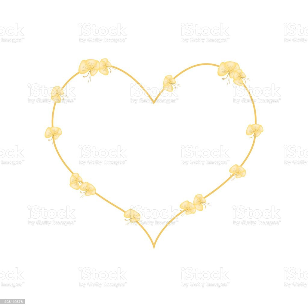 Barleria Lupulina Lindl Flowers in A Heart Shape vector art illustration