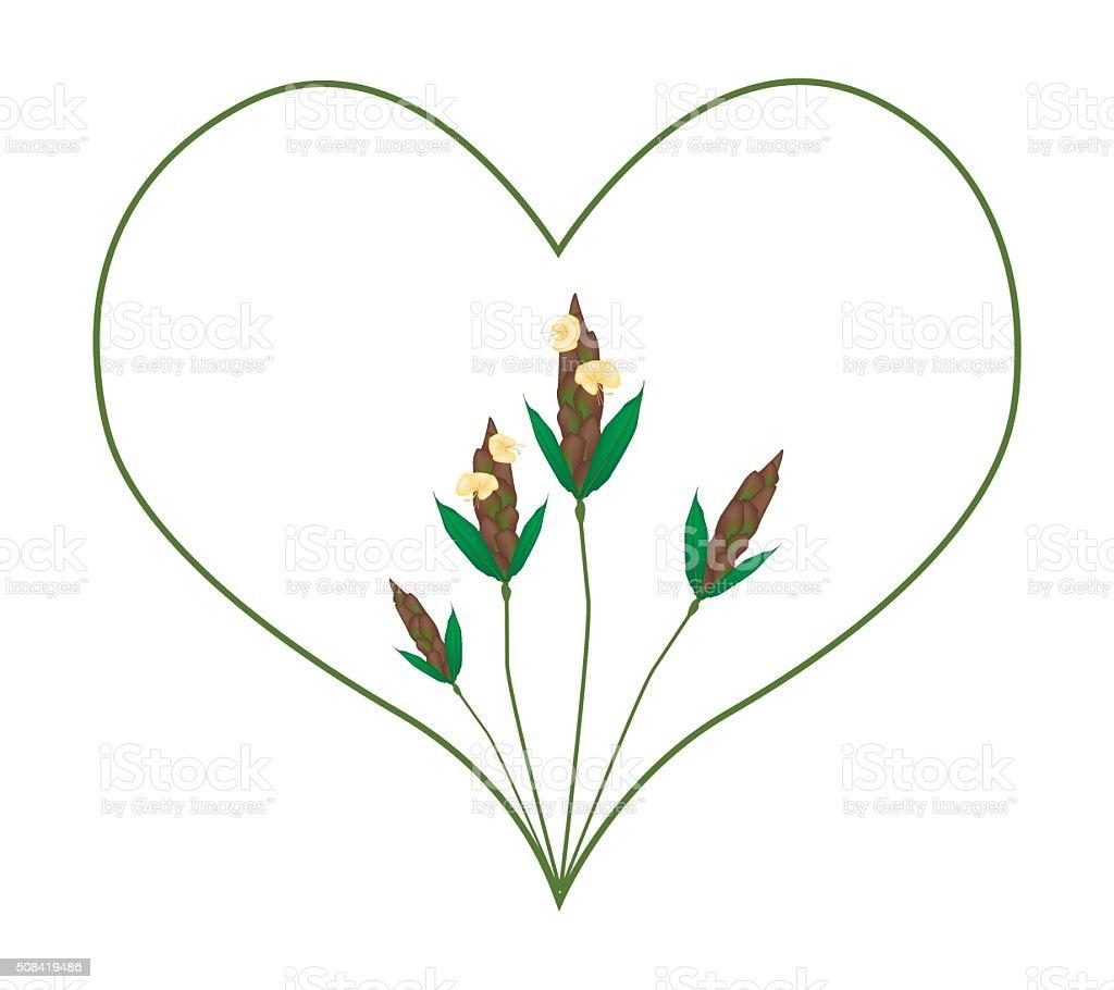 Barleria Lupulina Lindl Flowers in Heart Shape Frame vector art illustration