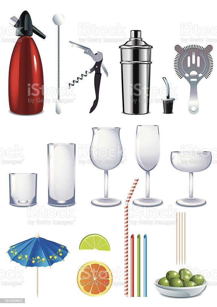 barman tools vector art illustration