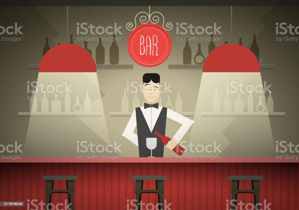 Barman vector art illustration