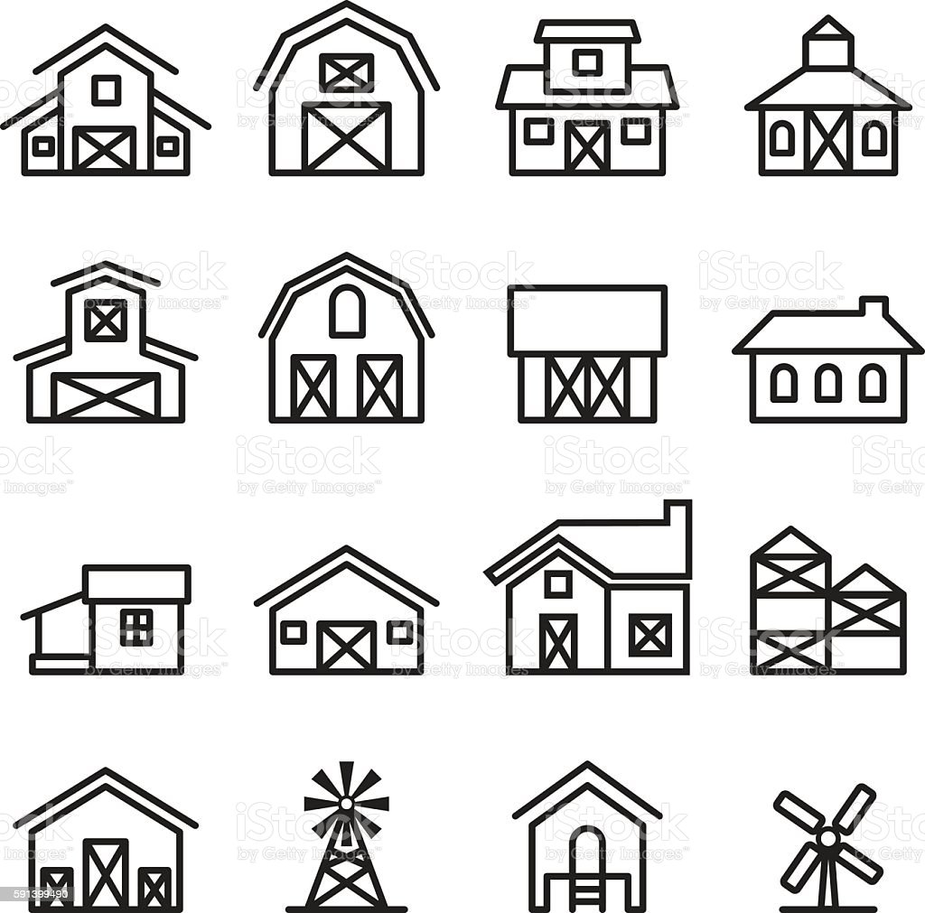 barn & farm building icon in thin line style vector art illustration