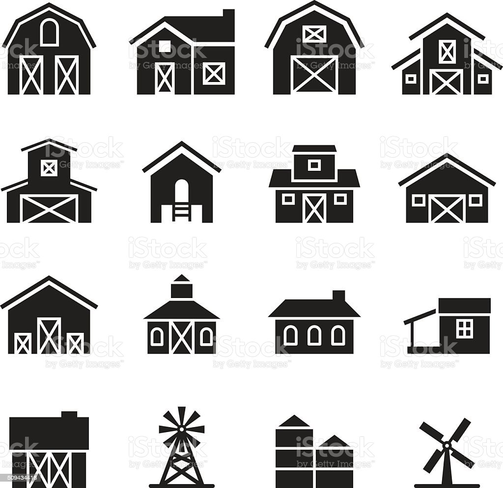 barn & farm building icon set vector art illustration
