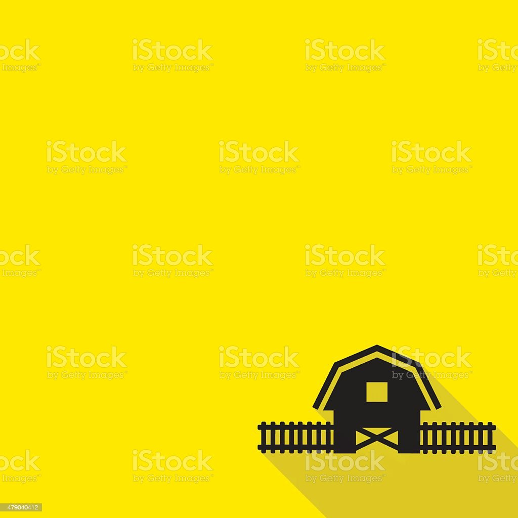 Barn house icon with long shadow. vector art illustration