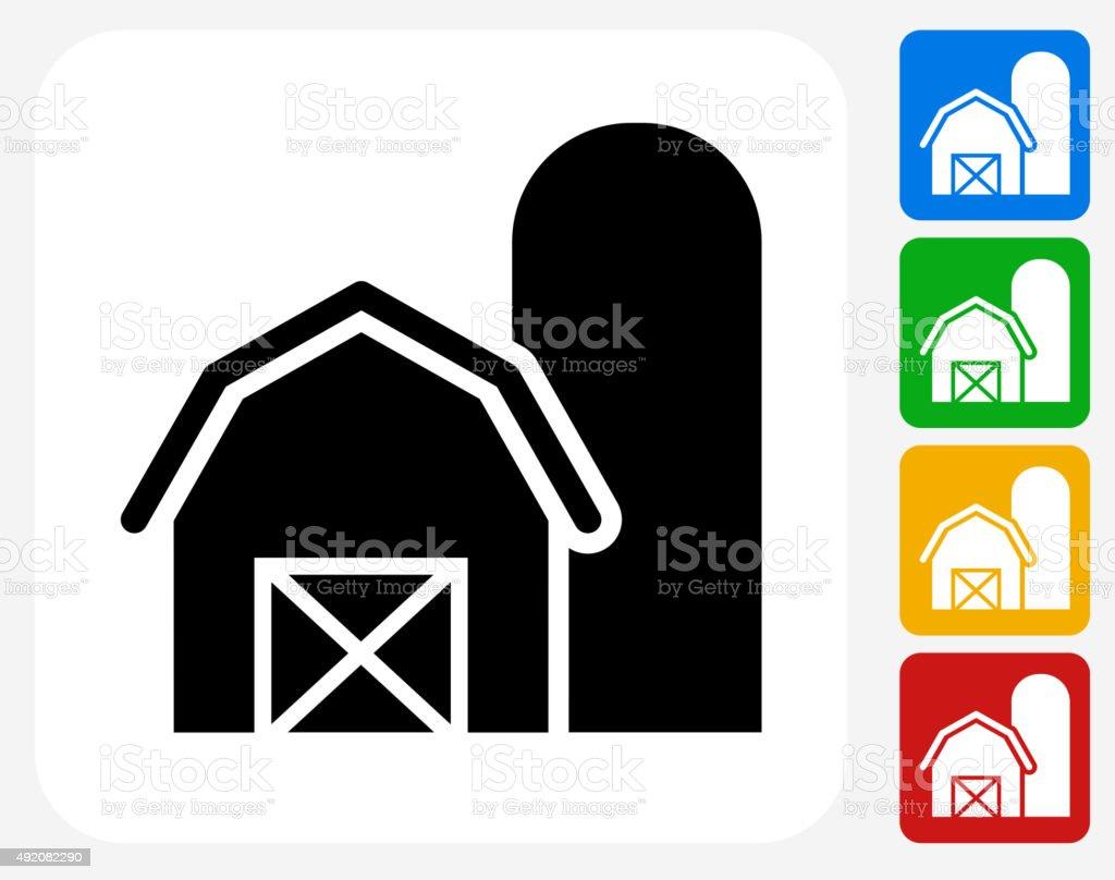 Barn Icon Flat Graphic Design vector art illustration