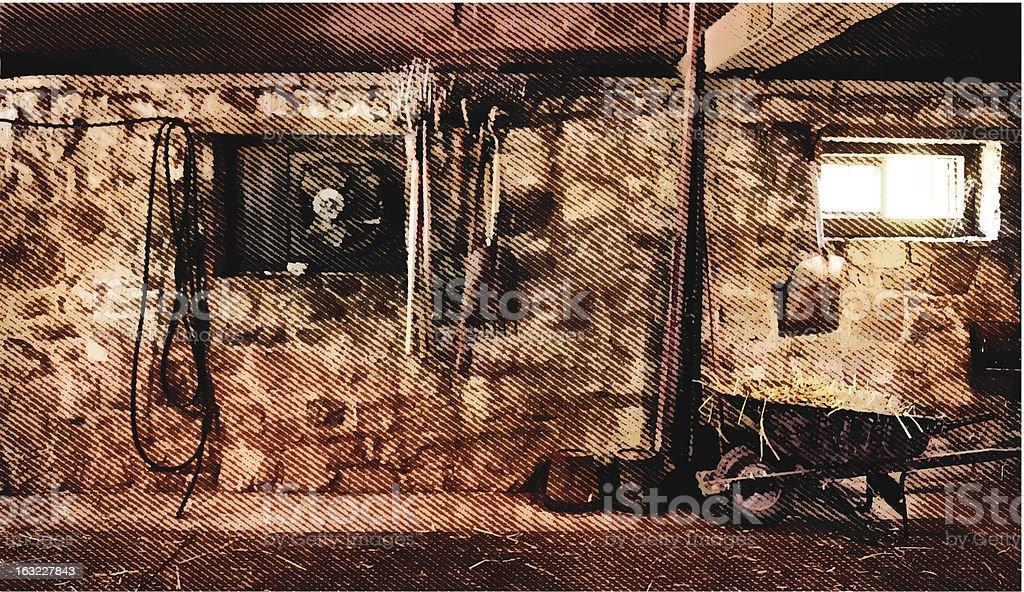 Barn Interior vector art illustration