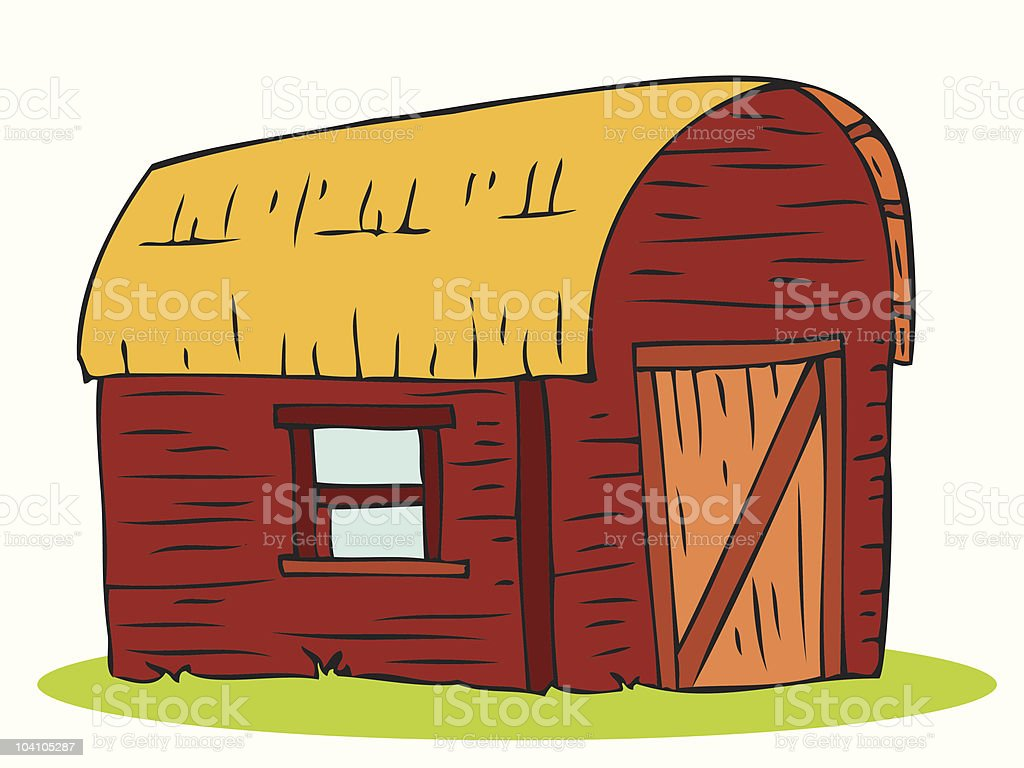 Barn with straw roof. royalty-free stock vector art