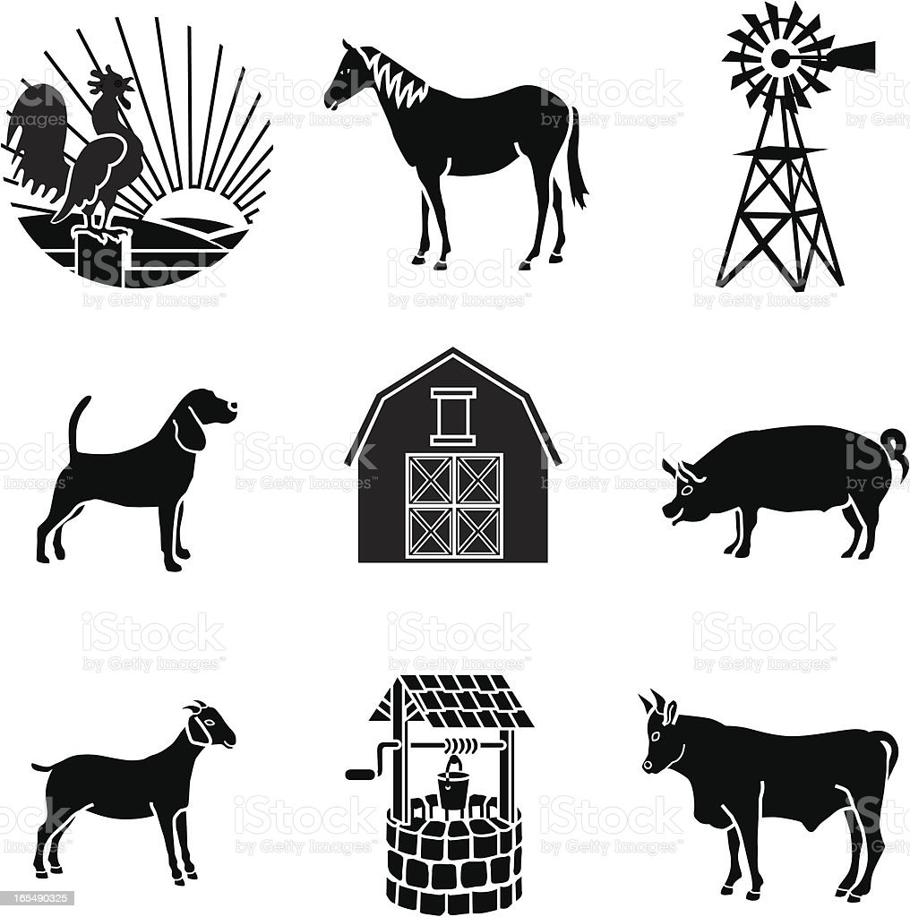 barnyard animals royalty-free stock vector art