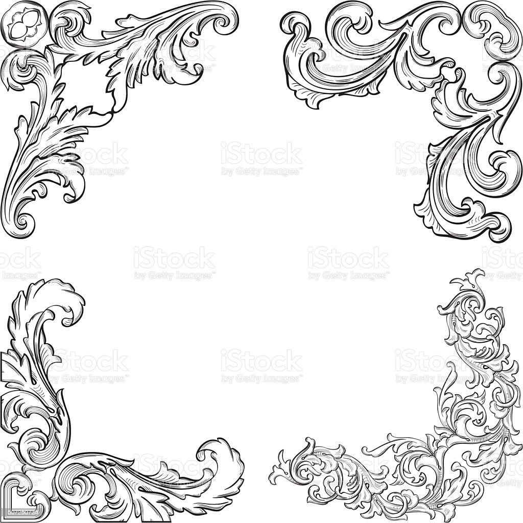 Baroque art corner set vector art illustration