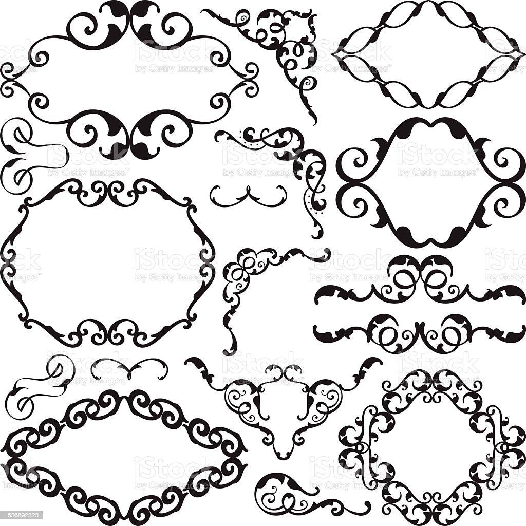 Baroque art nice ornate set vector art illustration