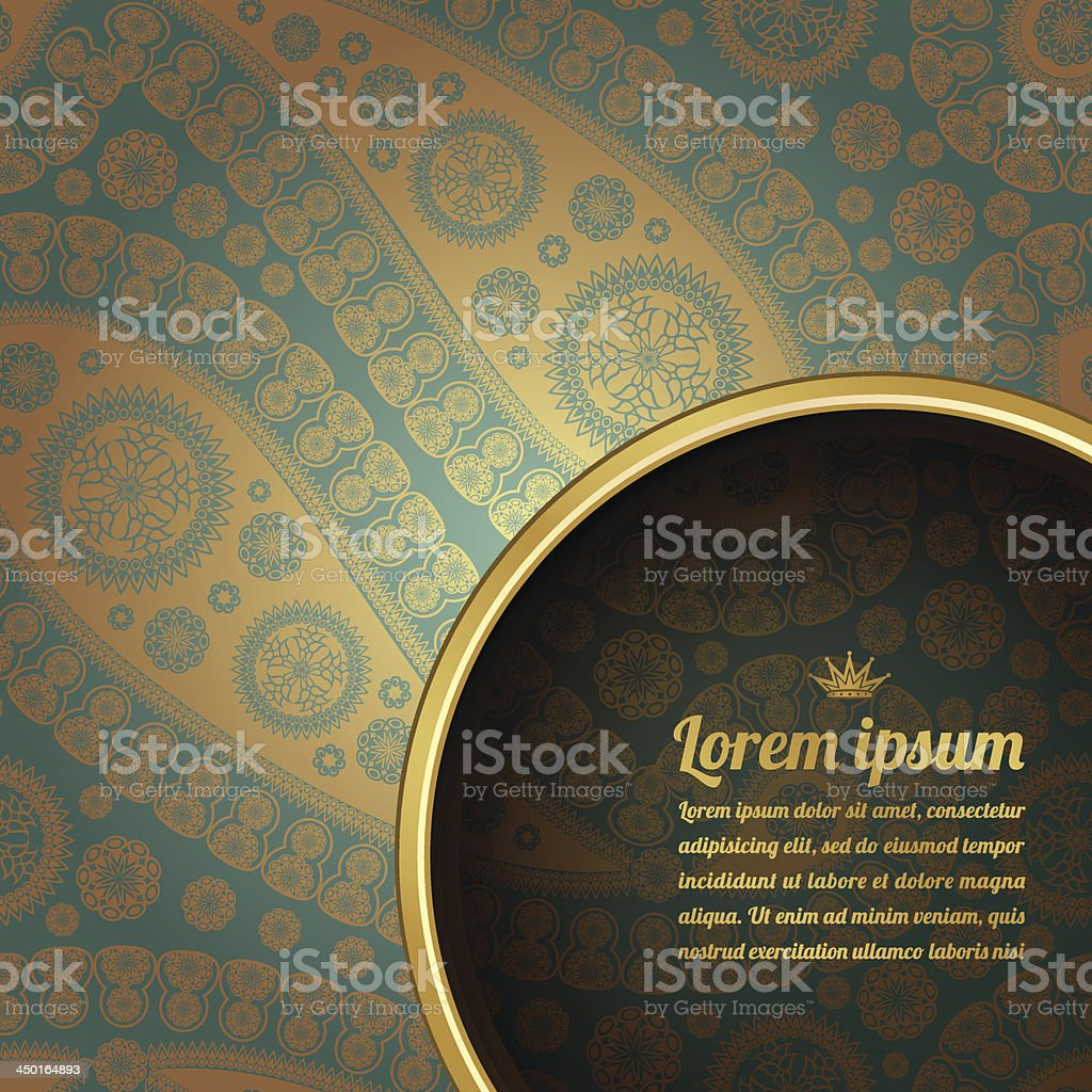 Baroque brocade pattern blue gold graphic template royalty-free stock vector art