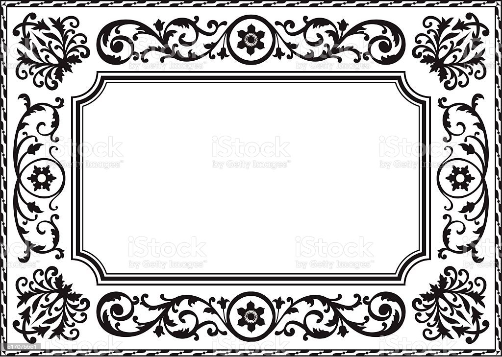 Baroque frame vector art illustration