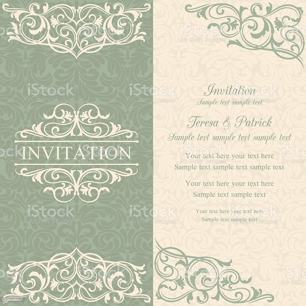 Baroque invitation, blue and beige vector art illustration