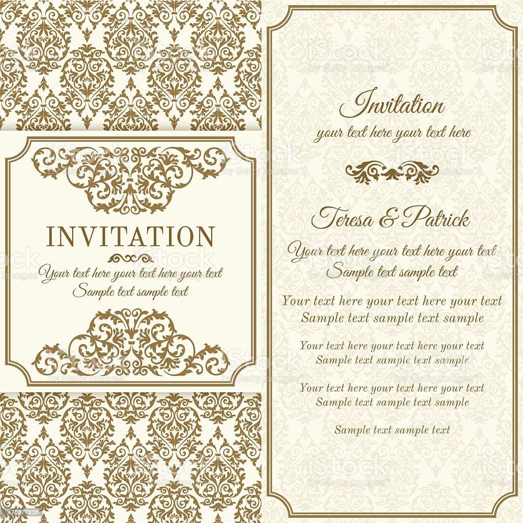 Baroque invitation, brown and beige vector art illustration
