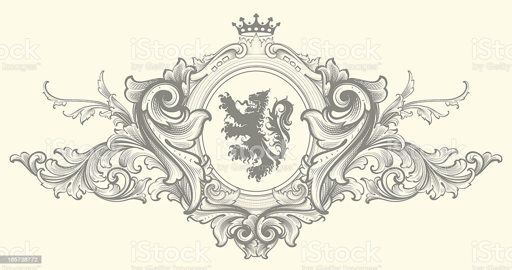 Baroque Nobility Coat of Arms vector art illustration