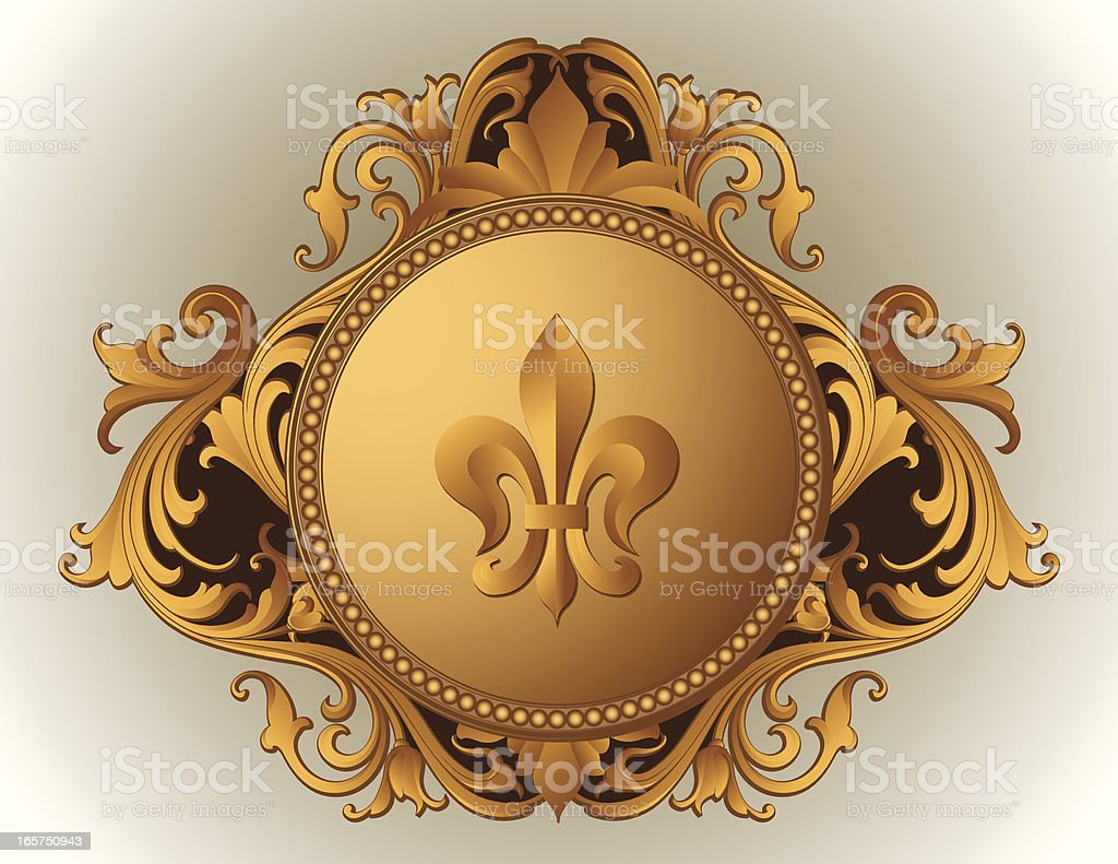 Baroque Ornate Frame fleur de lys royalty-free stock vector art