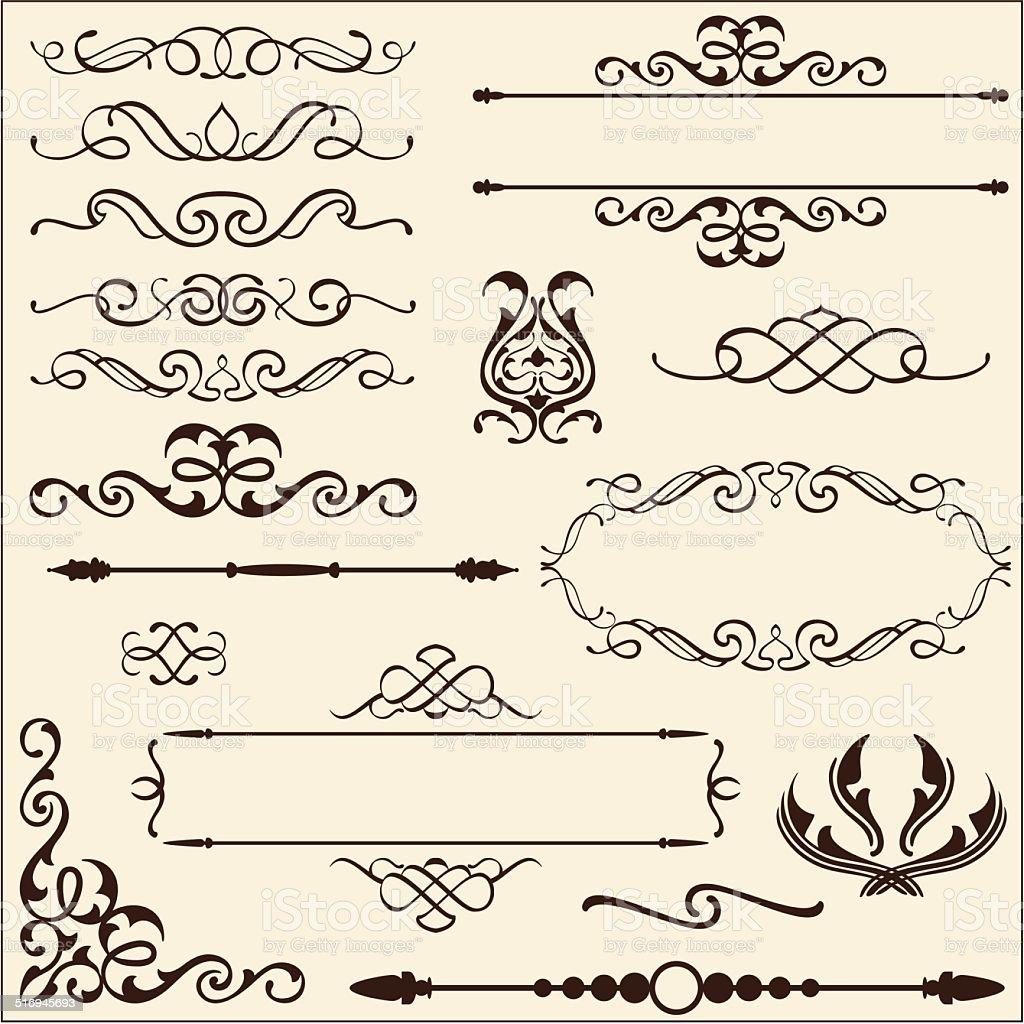 Baroque ornate set vector art illustration