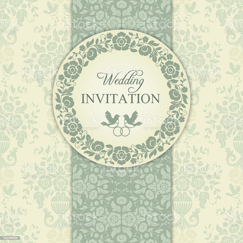 Baroque wedding invitation, blue and beige royalty-free stock vector art