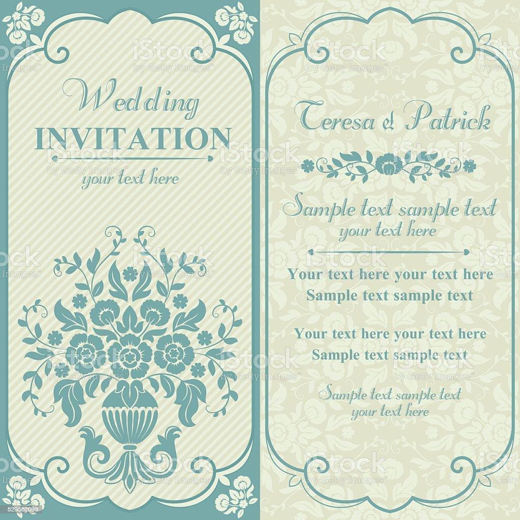 Baroque wedding invitation, blue and beige vector art illustration