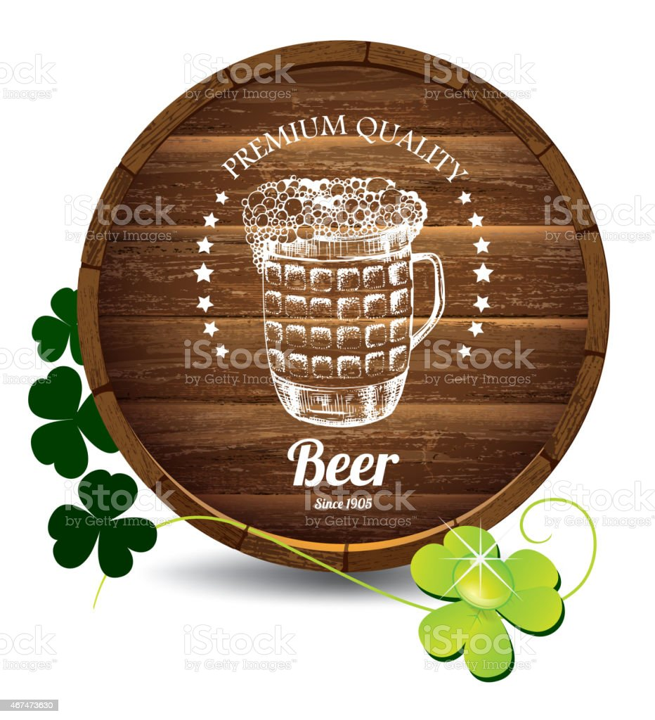 Barrel of beer and green clover flowers vector art illustration