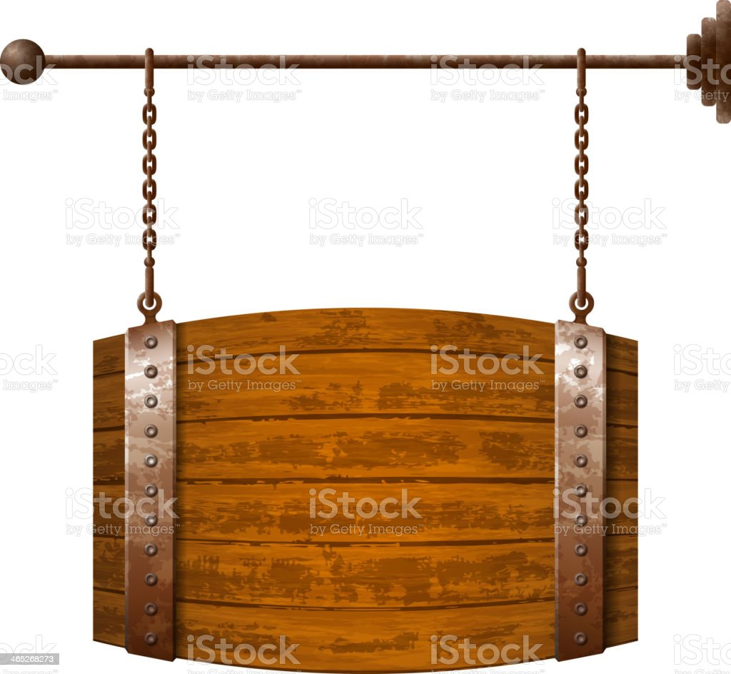 Barrel shaped wooden signboard royalty-free stock vector art