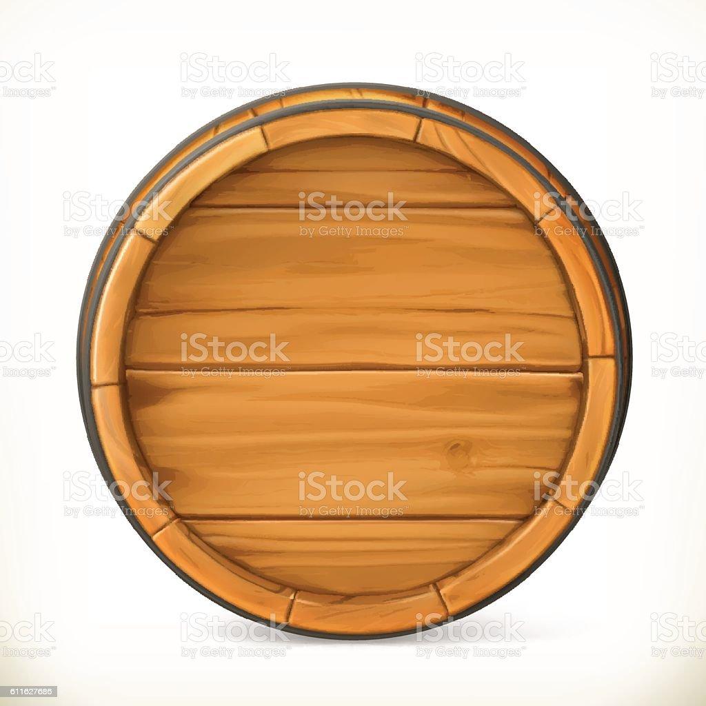Barrel. Wooden sign. Vector 3d icon vector art illustration
