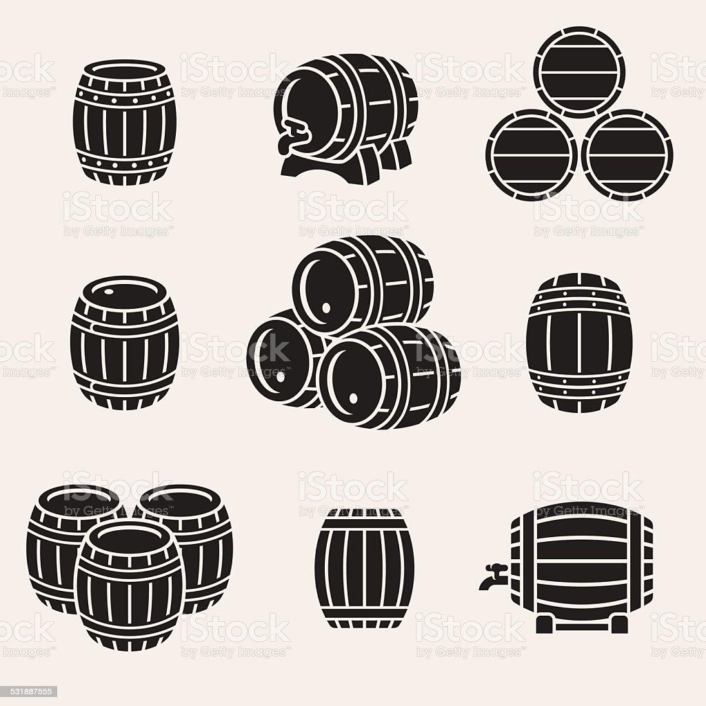 Barrels set. Vector vector art illustration