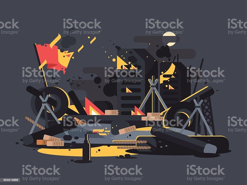 Barricades on fire vector art illustration
