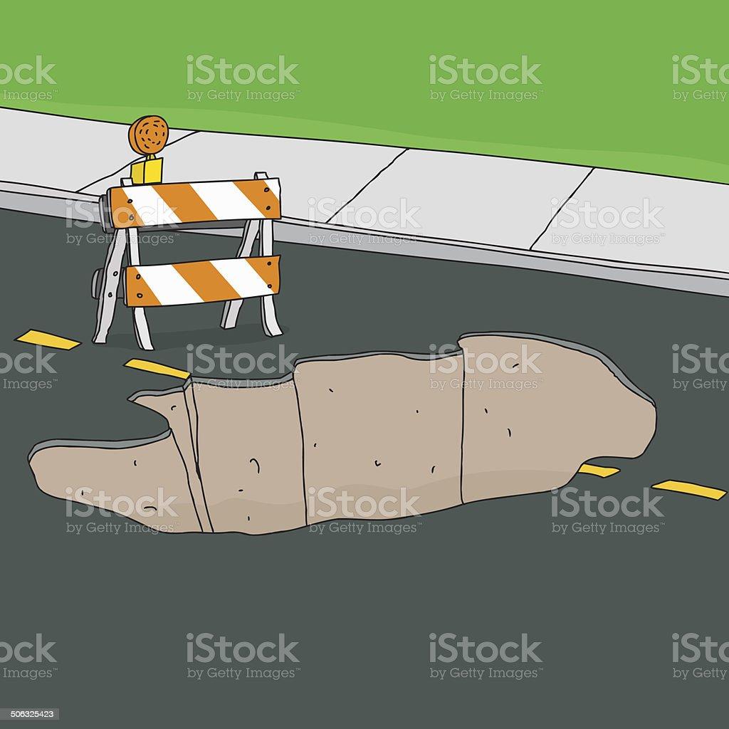 Barrier at Sinkhole in Street vector art illustration