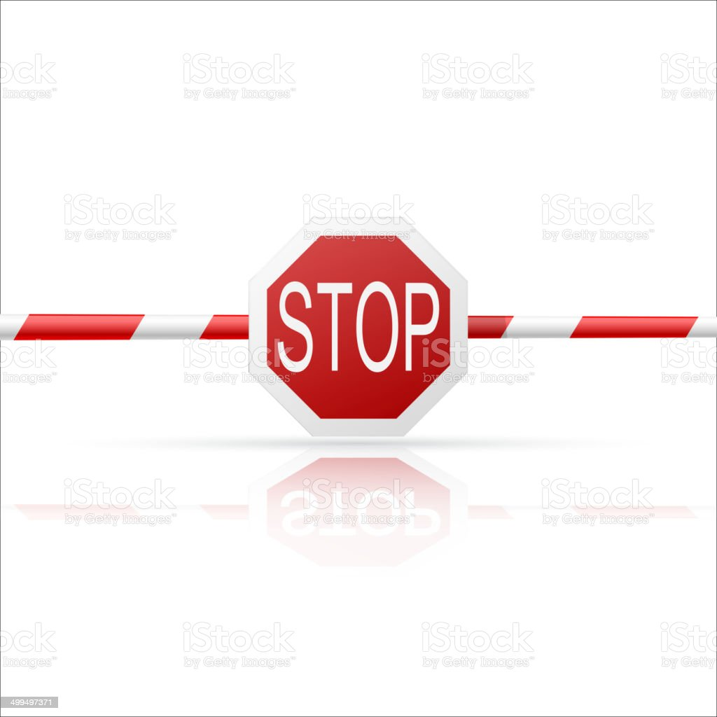 Barrier with a 'Stop' on white background vector art illustration