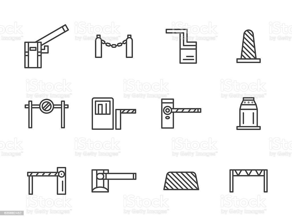 Barriers black line vector icons set vector art illustration