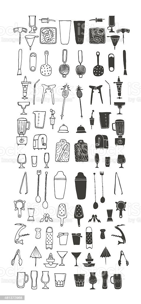 Bartender stuff. Big hand drawn collection. Vector. Isolated. vector art illustration