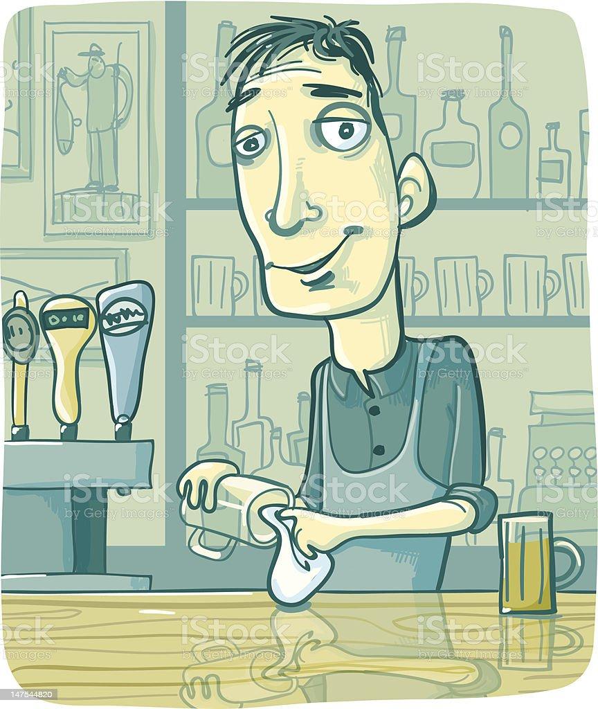 Bartender Wiping Beer Glass at Pub Bar Counter vector art illustration