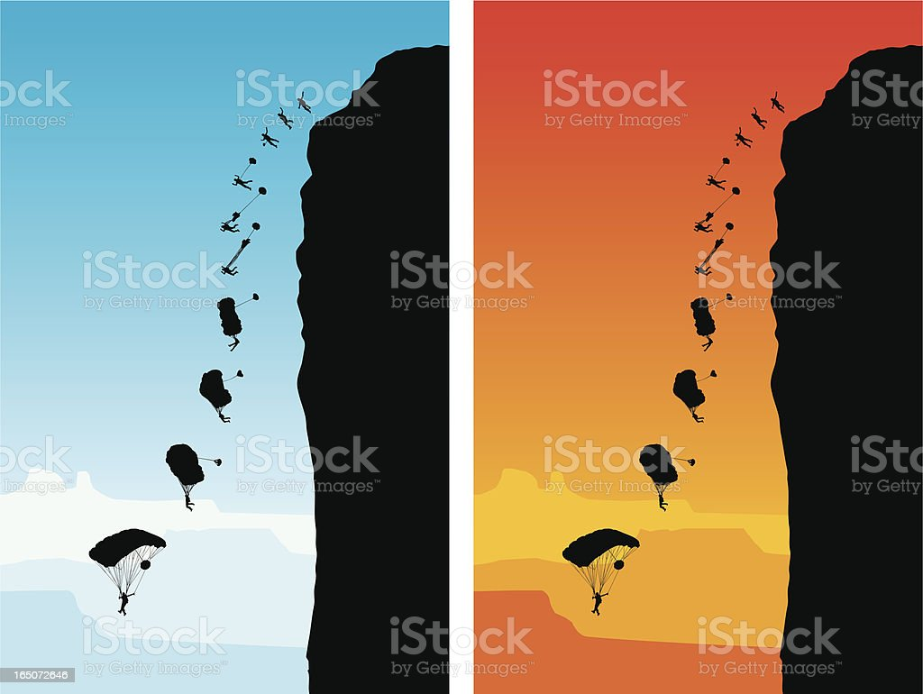 Base Jumping royalty-free stock vector art