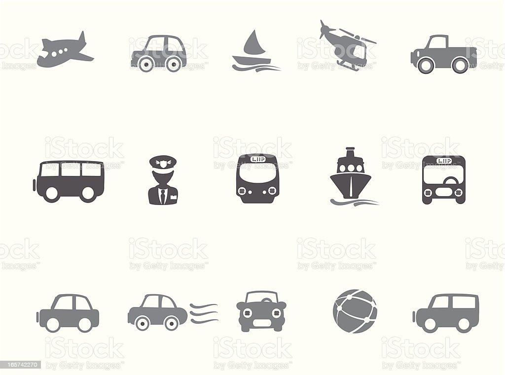 Base Transportation Icons vector art illustration
