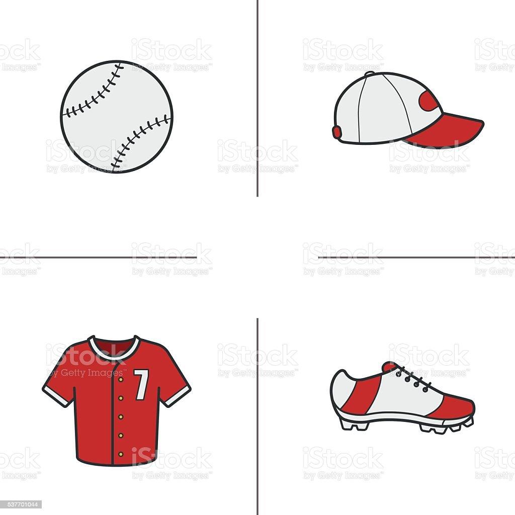 Baseball accessories icons vector art illustration