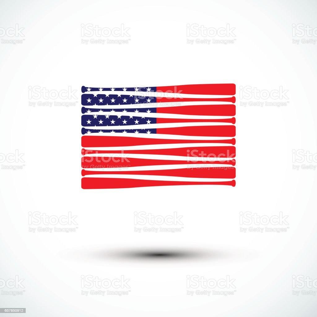 Baseball  America flag; sign & symbol; flat design; vector. vector art illustration