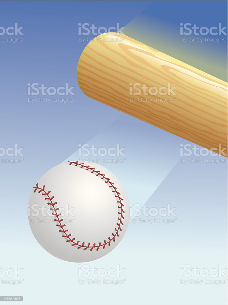 Baseball and Bat vector art illustration