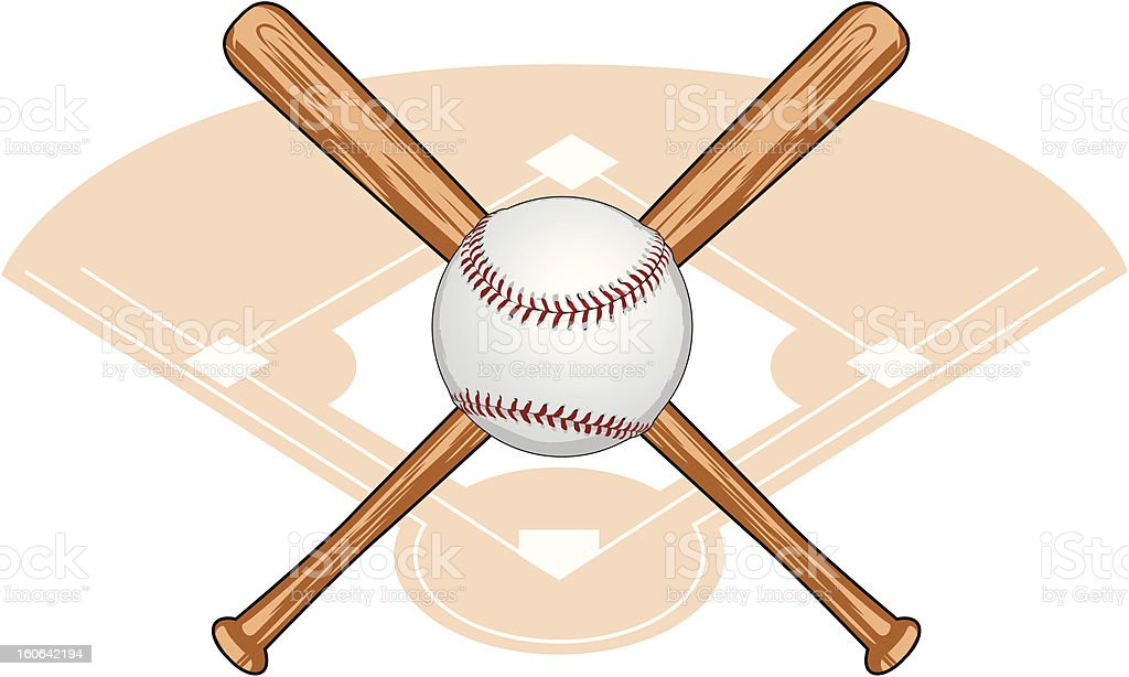 Baseball and Crossed Bats vector art illustration