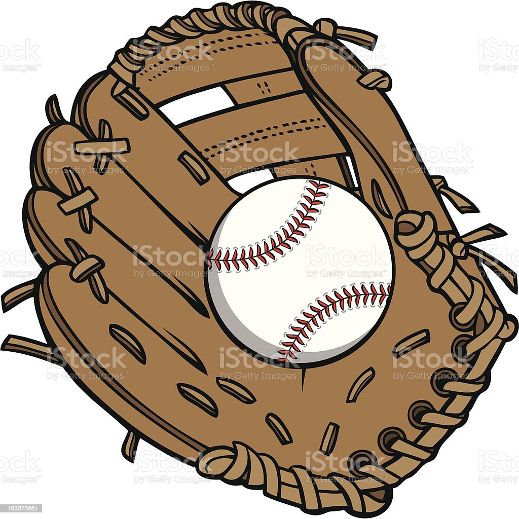 Baseball and Glove vector art illustration