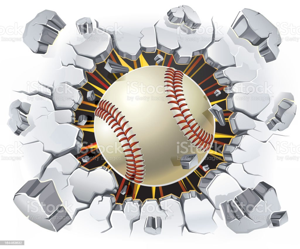 Baseball and Old Plaster wall damage. royalty-free stock vector art
